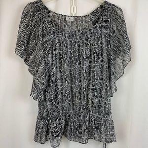 Worthington black & white blouse with tank